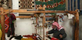 Vertical loom in Madaba, photo: Adeeb Atwan
