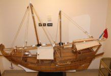 "A miniature sailing ship called ""Bagalah"" built by master qallaf Mr. Hussain Al-Bazaz."