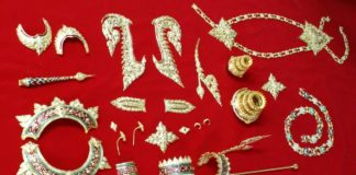 Design of regalia with gems for a golden Buddha image By craftsmen of the Office of Traditional Arts, Ministry of Culture