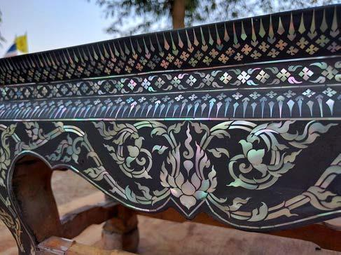 Contemporary furnitures decorated by mother-of-pearl inlay technique.